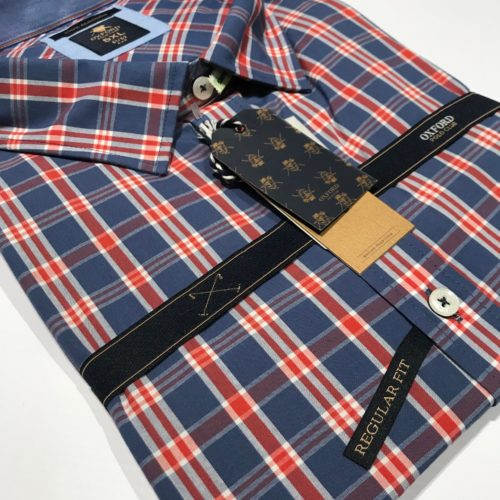 Camisa cuadros Oxford Polo manga larga del 2XL al 5XL.