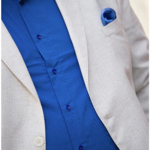 Saco de lino celeste y beige talles especiales.