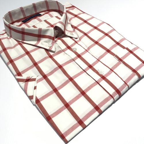 Camisa Talles especiales manga corta cuadro rojo