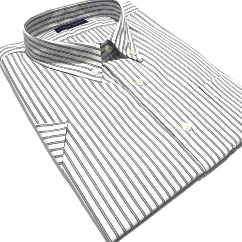 Camisa Talles especiales manga corta 500 rayas azul