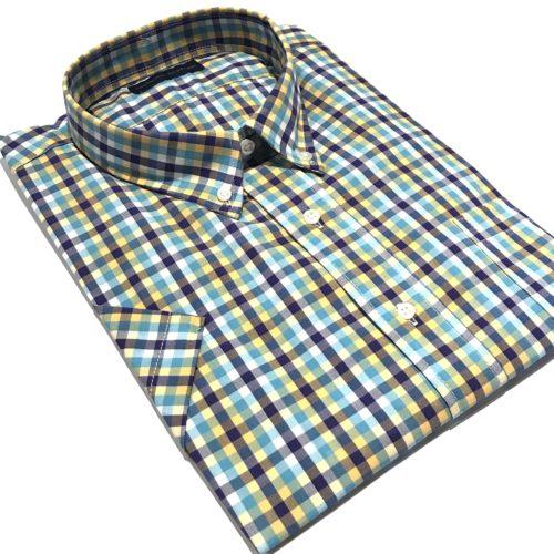 Camisa Talles especiales manga corta cuadro color