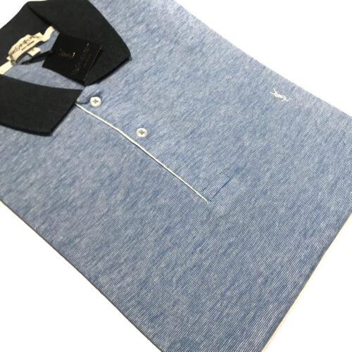 Chombas YSL talles especiales azulino cuello combinado.