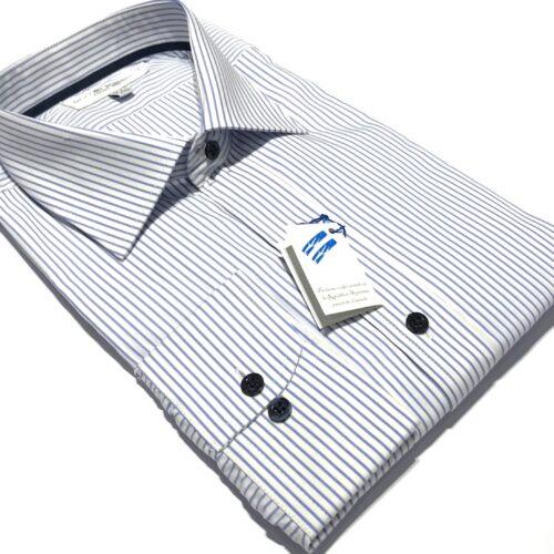 Camisa fondo blanco 500 rayas azul Francia.