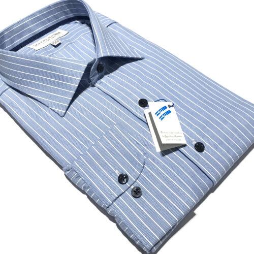 Camisa fondo celeste 500 rayas blancas