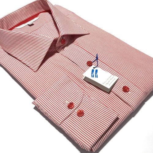 Camisa vestir 1000 rayas rojas talles especiales.
