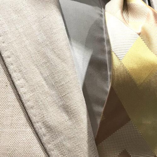 Saco lino espiga beige talles especiales.